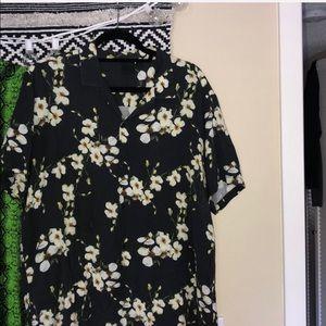 ASOS Black floral button down shirt